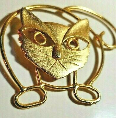 Kj Jewelry Large Angry Cat Pin Brooch Gold Tone