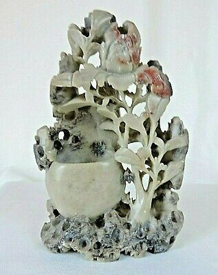 Chinese Soapstone Brush Pot/Vase Hand Carved 15cm Tall