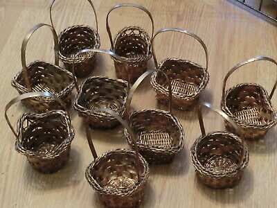 "Pack of 10 Gold Miniature Baskets (5"" tall x 3"" wide)"