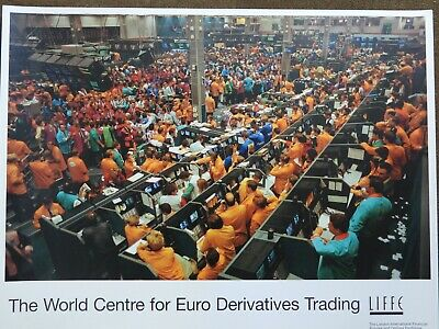 Photograph print of LIFFE market 1995 floor traders 24 x 18 Cannon street London