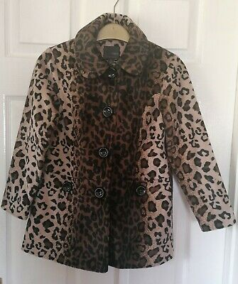 Next Girls leopard print button up coat age 7-8 years