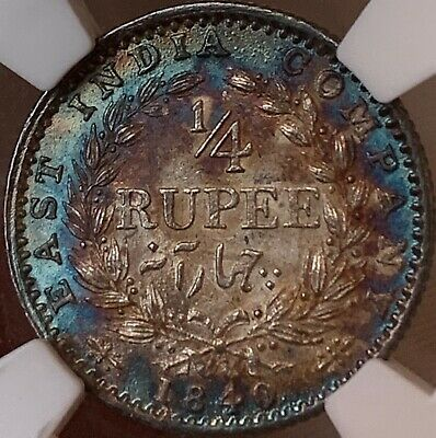 INDIA 1840 1/4 Rupee CL NGC MS62 lustrous RAINBOW TONED Colorful!! 🌈