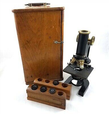 Vintage Bausch Lomb Optical Laboratory Microscope Brass Black Lacquer Wood Box