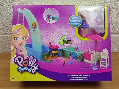 Polly Pocket Splashtastic Pool Surprise Play Set FTP75 With 2 Sized Polly Dolls