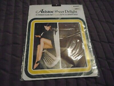 Aristoc sheer delight 15 denier plain knit tights size 1 in mulberry