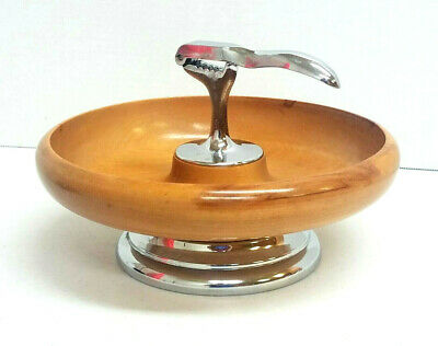 Vintage Wood Nut Bowl Attached Nut Cracker Round MCM