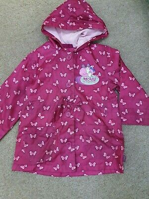 Girls Clarks Pink 'Molly the Magical Cat' Lined Hooded Rain Mac Age 2-4 Years