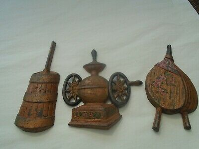 Collection of interesting small flat back cast iron models  UNUSUAL WALL PLAQUES