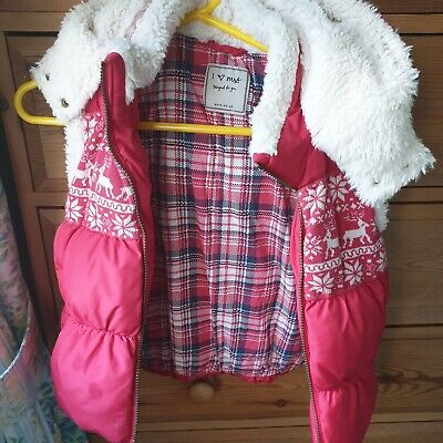 Next Girls Red + White Faux Fur Padded Gilet Age 9-10 Years