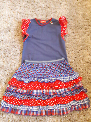 Mim-Pi Girls 2 Piece Set Age 10-11 Yrs Skirt & Top Romany Spanish Party Set