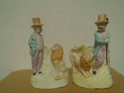 Pair of interesting bisque porcelain match holders/strikers LION & CIRCUS MASTER