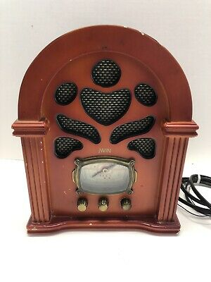 jWin JK-111 Vintage Style AM FM TV WB Radio Retro Wooden Cabinet Small 11""