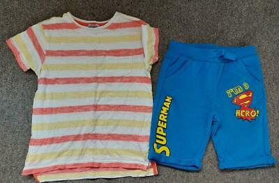 Lovely 2 Piece Boys Outfit,  T Shirt Top And Superman Shorts Set,  6-7 Yrs