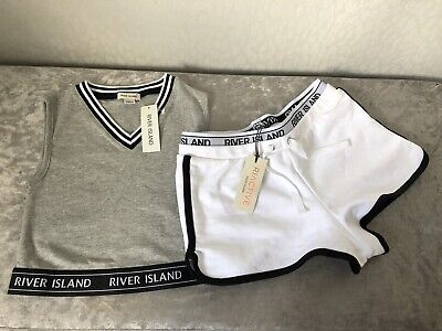BNWT River Island Girls 7-8 Years White Shorts & Grey Vest Crop Top Outfit Set