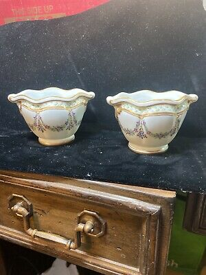 Pair Sevres French Porcelain Small Urns Maroon, Gold Trim, Floral Figural