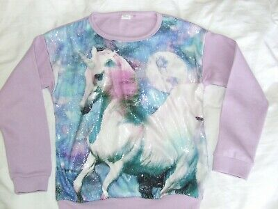 Girls Next Unicorn jumper age 10 years, Lilac sequins, excellent condition