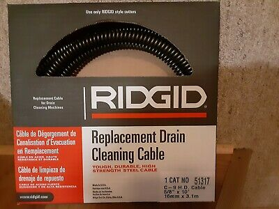 """Ridgid  51317 C-9 H.D. Drain  Cleaning Cable  5/8"""" x 10'"""