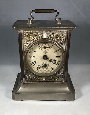 Antique Kuehl K.C. Co Germany Brass & Glass Carriage Key Clock & Chimes WORKS