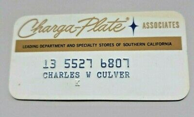 1 Charga-Plate Used In Participating Stores Southern California 1970 To 1990