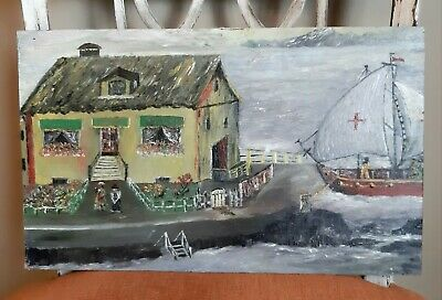 Vintage 1960s Folk Art Oil Painting On Wood Nautical Theme Boat Harbor England