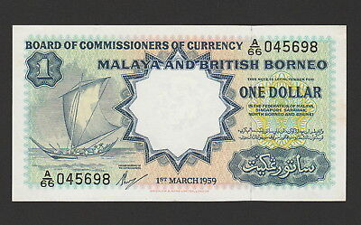 Malaya & British Borneo 1 Dollars Banknote 1959 Choice About Uncir, Cat#8-A-5698