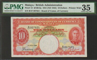 Malaya-British Administration 10 Dollars Banknote 1941 Choice Very Fine Grade
