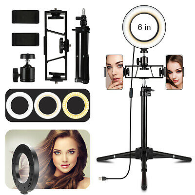 6'' LED Ring Light Camera Lamp w/ Tripod Stand Phone Holder for YouTube Video Li