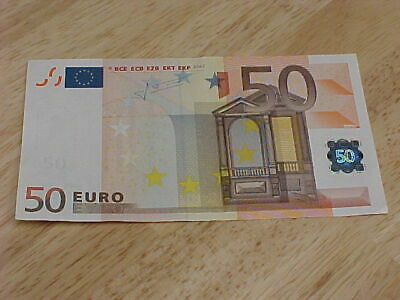 One 50 EURO Banknote 2002 European Currency Jean-Claude Trichet Signature