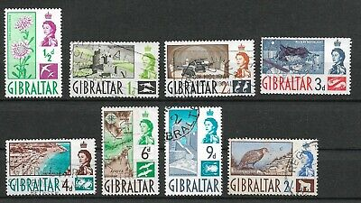 Gibraltar 1960 selection of 8 definitives, fine used. Includes 2/