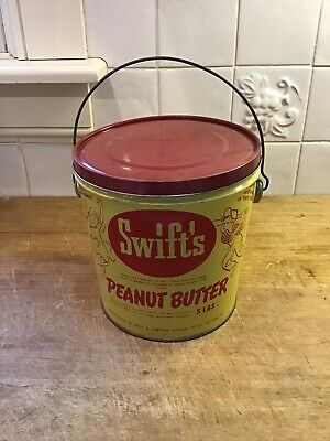 Vintage Advertising Tin Swift's 5 Lb Peanut Butter Can Pail Bucket