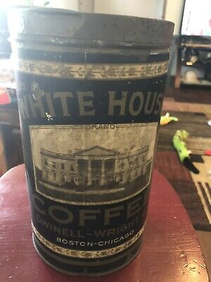 White House Coffee tin 3lb Paper Label Dwinell-Wright Boston-Chicago ca 1920
