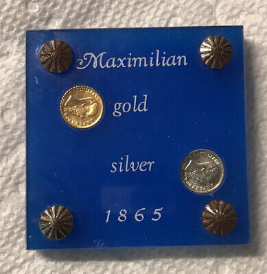1865 Maximiliano Gold .5 Gram & Silver Coin Lot In Holder Hard To Find