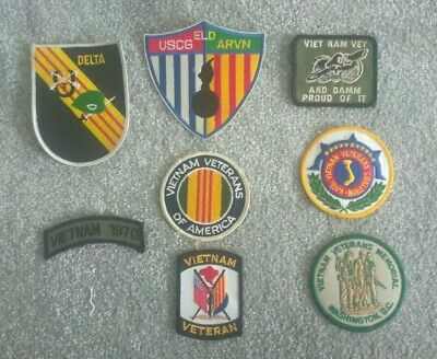 Group of 8 Vietnam War Veteran embroidered cloth shoulder patches