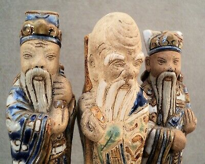 """3 Vtg Antique POTTERY Wise Man FIGURES Incised KIMONOS Hats 5.25"""" Tall Signed"""