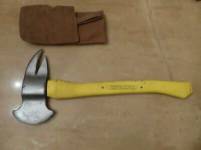 Truckman Firefighters Belt Axe With Sheath Yellow Shiny Excellent