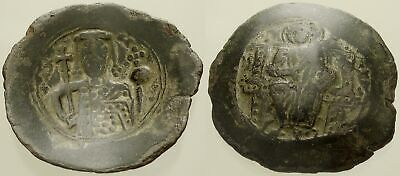 056. Byzantine Coin. ALEXIUS I, Bi Trachy. Constantinople. Bust of Emperor. Fine