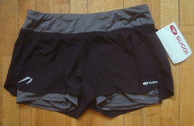 SUGOI - Verve Running Shorts Womens Large Black Gray Athletic BRAND NEW NWT