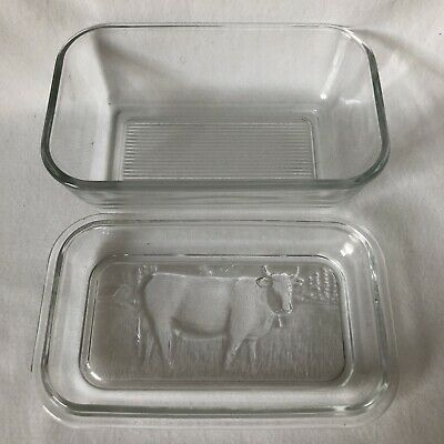 Butter Cheese Dish with Lid ARC France Cow Embossed Clear Thick Glass Farmhouse