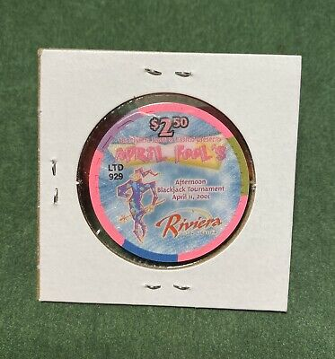 $2.50 UNCIRCULATED- Las Vegas Riviera April's Fool LTD Casino Chip