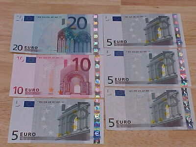 Lot 5 10 20 EURO Banknotes 6 Bank Notes  Year 2002 European Currency Circulated