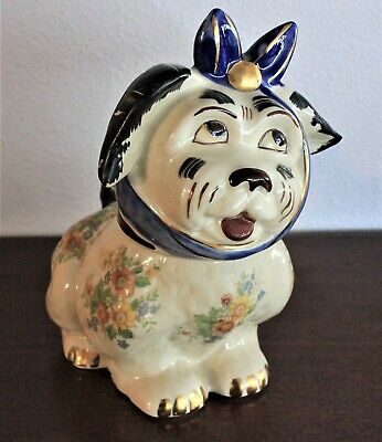 Shawnee Muggsy Cookie Jar -Authentic Orig Roses w Blue/Gold Accents -1940's