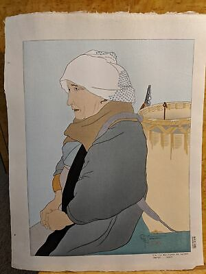1934 Paul Jacoulet Japanese Woodblock Print Vielle Marchande