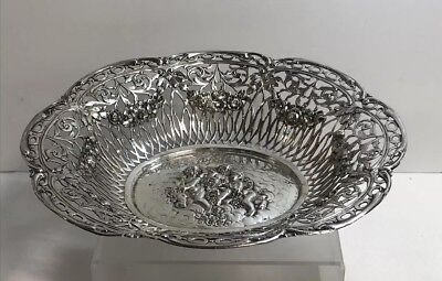 Antique Solid 800 Silver Reticulated Bowl With Cherubs & Flowers