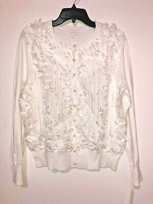 Women's Cardigan Charter Club White Floral Embroidery Regular Size L NWT $49.99