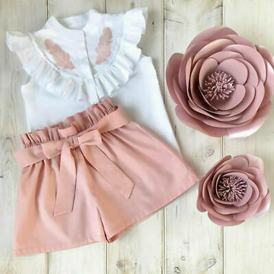 2PCS Toddler Kids Baby Girl Clothes Shirt Ruffle Tops Pants Shorts Summer Outfit