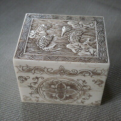 Vintage Hand Carved Bone Japanese Lidded Box Artist Signed
