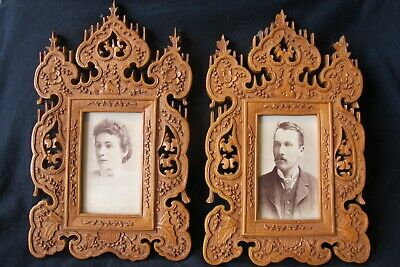 Pair of Antique carved boxwood frames – Folk Art