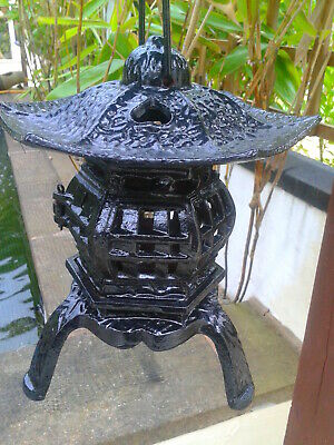 Vintage Chinese/Japanese Pagoda Lantern, Cast Iron. Stamped Made in China. Black