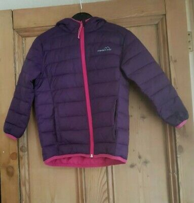 Freedom Trail Girls Hooded Padded Coat Purple With Pink Trim Age 5-6 Years