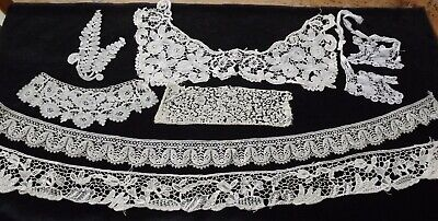 Antique Lace Lengths / Edgings - Youghal, Brussels, Honiton, Binche - Good Lot